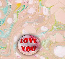 I love you marble on Pink Marbled Paper by Jack Northrup