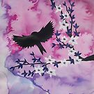 Watercolour acrylic pink birds with tree branches by cathyjacobs