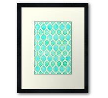Watercolor pattern in Aqua, Lime & Mint on White Framed Print
