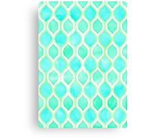 Watercolor pattern in Aqua, Lime & Mint on White Canvas Print