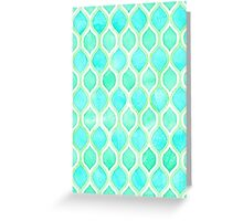 Watercolor pattern in Aqua, Lime & Mint on White Greeting Card