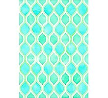 Watercolor pattern in Aqua, Lime & Mint on White Photographic Print