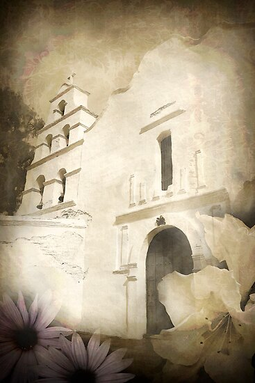 San Diego Mission watercolor by Frederick  Olmsted