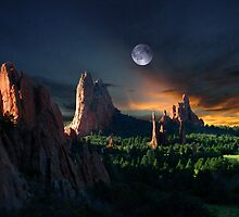 Morning Light At The Garden Of The Gods With Moon by pilgrims492003