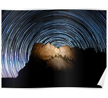 Star trails over Mount Rushmore National Memorial Poster