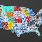 License Plate Map of The United States On Gray by designturnpike