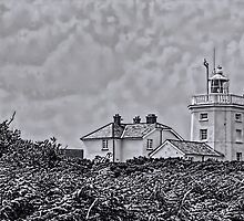 Cromer Lighthouse Black and White by Avril Harris