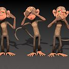 Hear No Evil, See No Evil, Speak No Evil - Three Wise Monkeys by Liam Liberty