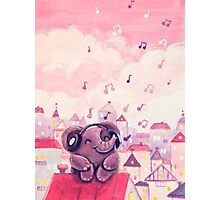 Music Lover - Rondy the Elephant listening to music on the roof Photographic Print