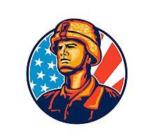 American Serviceman Soldier Flag Retro by patrimonio