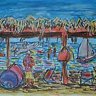Watercolor Sketch - Beach Gazebo. Sicily, 2013 by Igor Pozdnyakov