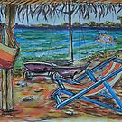Watercolor Sketch - Summer, Beach, Gazebo, Sailboat.. 2013 by Igor Pozdnyakov