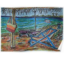 Watercolor Sketch - Summer, Beach, Gazebo, Sailboat.. 2013 Poster
