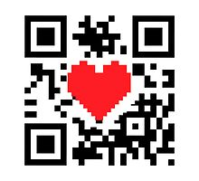 QR Code Heart Love Message  Prints / T-Shirt / iPhone Case / iPad Case  by CroDesign