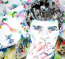 IAN CURTIS SMOKING CIGAR - watercolor portrait by lautir