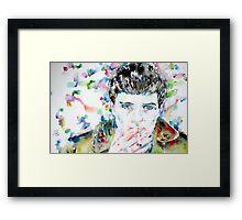 IAN CURTIS SMOKING CIGAR - watercolor portrait Framed Print