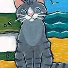 Happy Tabby on the Beach by Lisa Marie Robinson