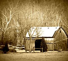 Snowy Barn sepia tone winter rustic country decor by jemvistaprint