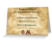 Official Hogwarts Diploma Poster - Transfiguration Greeting Card