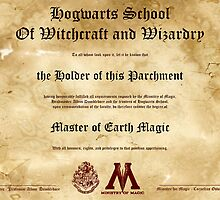 Official Hogwarts Diploma Poster - Earth Magic by eaaasytiger
