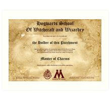 Official Hogwarts Diploma Poster - Charms Art Print