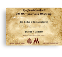 Official Hogwarts Diploma Poster - Alchemy Canvas Print