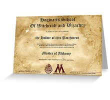 Official Hogwarts Diploma Poster - Alchemy Greeting Card