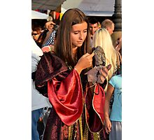Renaissance Dressed Beauty and the Cute Little Beast Photographic Print