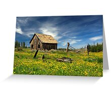 Cabin In A Field Of Flowers Greeting Card