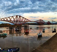 Sunset over the Forth Rail Bridge by Miles Gray