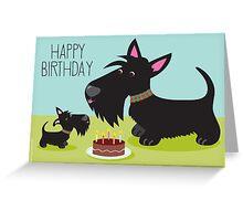 Birthday Cake and Scotties Greeting Card