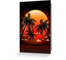 Warm Topical Sunset with Palm Trees Greeting Card