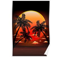 Warm Topical Sunset with Palm Trees Poster
