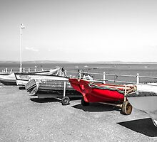 Red boat at Morecambe Bay by Paul Madden