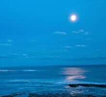 Moon over the sea by Nick Jenkins