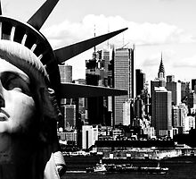 new york cityscape skyline landmark hudson river statue liberty by upthebanner