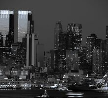 new york cityscape skyline night landmark hudson river night by upthebanner