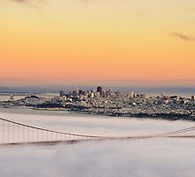san francisco sunset golden gate bridge skyline cityscape by upthebanner