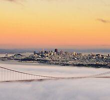 san francisco sunset golden gate bridge skyline cityscape by upthebanner