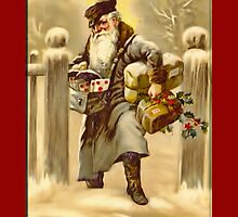 Holiday Greeting-St. Nick with Gifts by Yesteryears