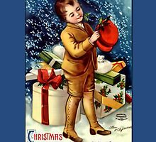 Holiday Greeting-Boy with Hat by Yesteryears