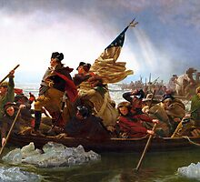 Washington crossing Delaware-River by PrivateP