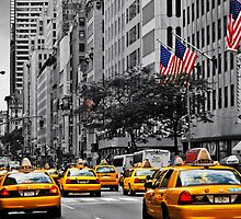 Color in 5th Ave Yellow Cabs plus Stars and Stripes by jalfc46