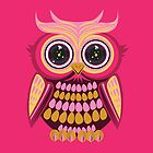 Star Eye Owl - Pink Orange 3 by Adamzworld
