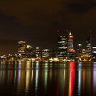 Perth CBD Skyline at night by Gnangarra