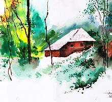 House in greens 1 by Anil Nene