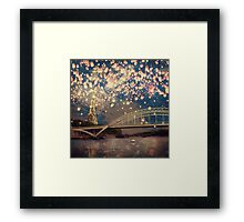 Love Wish Lanterns over Paris Framed Print