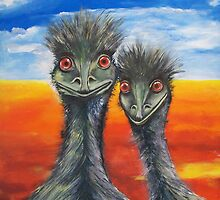 Cheeky Emus by Glenys Coleman