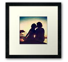 Lovers Kissing at Sunset Framed Print