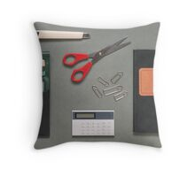 1970s Office Supplies Overhead Throw Pillow
